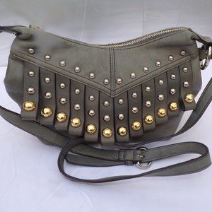 B. MAKOWSKY GREY LEATHER WITH GOLD & SILVER STUDS